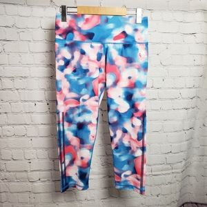 Adidas Watercolour Pink Blue Cropped Leggings Yoga